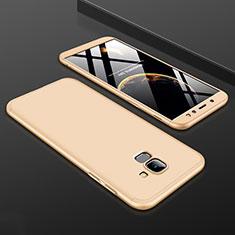 Handyhülle Hülle Kunststoff Schutzhülle Tasche Matt Vorder und Rückseite 360 Grad für Samsung Galaxy A6 (2018) Gold
