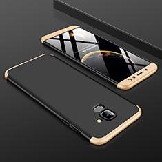 Handyhülle Hülle Kunststoff Schutzhülle Tasche Matt Vorder und Rückseite 360 Grad für Samsung Galaxy A6 (2018) Gold und Schwarz