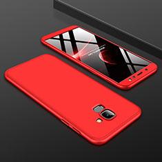 Handyhülle Hülle Kunststoff Schutzhülle Tasche Matt Vorder und Rückseite 360 Grad für Samsung Galaxy A6 (2018) Rot