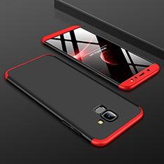 Handyhülle Hülle Kunststoff Schutzhülle Tasche Matt Vorder und Rückseite 360 Grad für Samsung Galaxy A6 (2018) Rot und Schwarz