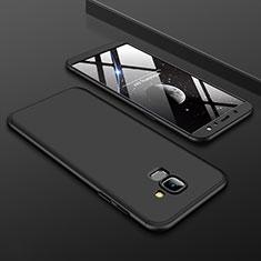 Handyhülle Hülle Kunststoff Schutzhülle Tasche Matt Vorder und Rückseite 360 Grad für Samsung Galaxy A6 (2018) Schwarz