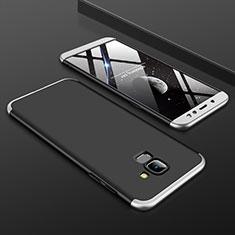 Handyhülle Hülle Kunststoff Schutzhülle Tasche Matt Vorder und Rückseite 360 Grad für Samsung Galaxy A6 (2018) Silber