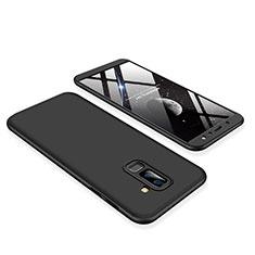 Handyhülle Hülle Kunststoff Schutzhülle Tasche Matt Vorder und Rückseite 360 Grad für Samsung Galaxy A6 Plus (2018) Schwarz