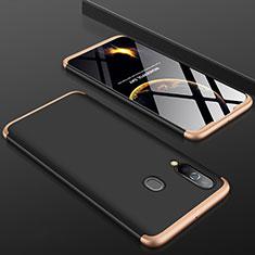 Handyhülle Hülle Kunststoff Schutzhülle Tasche Matt Vorder und Rückseite 360 Grad für Samsung Galaxy A60 Gold und Schwarz