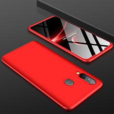 Handyhülle Hülle Kunststoff Schutzhülle Tasche Matt Vorder und Rückseite 360 Grad für Samsung Galaxy A60 Rot