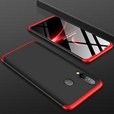 Handyhülle Hülle Kunststoff Schutzhülle Tasche Matt Vorder und Rückseite 360 Grad für Samsung Galaxy A60 Rot und Schwarz