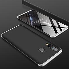 Handyhülle Hülle Kunststoff Schutzhülle Tasche Matt Vorder und Rückseite 360 Grad für Samsung Galaxy A60 Silber und Schwarz
