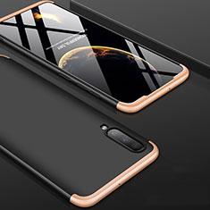Handyhülle Hülle Kunststoff Schutzhülle Tasche Matt Vorder und Rückseite 360 Grad für Samsung Galaxy A70S Gold und Schwarz