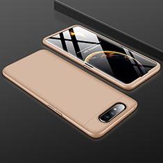 Handyhülle Hülle Kunststoff Schutzhülle Tasche Matt Vorder und Rückseite 360 Grad für Samsung Galaxy A80 Gold