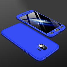Handyhülle Hülle Kunststoff Schutzhülle Tasche Matt Vorder und Rückseite 360 Grad für Samsung Galaxy J2 Pro (2018) J250F Blau