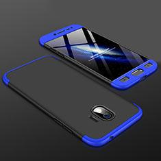 Handyhülle Hülle Kunststoff Schutzhülle Tasche Matt Vorder und Rückseite 360 Grad für Samsung Galaxy J2 Pro (2018) J250F Blau und Schwarz