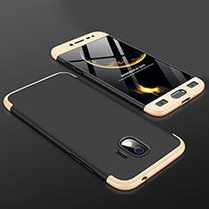 Handyhülle Hülle Kunststoff Schutzhülle Tasche Matt Vorder und Rückseite 360 Grad für Samsung Galaxy J2 Pro (2018) J250F Gold und Schwarz