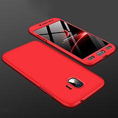 Handyhülle Hülle Kunststoff Schutzhülle Tasche Matt Vorder und Rückseite 360 Grad für Samsung Galaxy J2 Pro (2018) J250F Rot