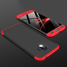 Handyhülle Hülle Kunststoff Schutzhülle Tasche Matt Vorder und Rückseite 360 Grad für Samsung Galaxy J2 Pro (2018) J250F Rot und Schwarz