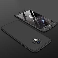 Handyhülle Hülle Kunststoff Schutzhülle Tasche Matt Vorder und Rückseite 360 Grad für Samsung Galaxy J2 Pro (2018) J250F Schwarz