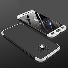 Handyhülle Hülle Kunststoff Schutzhülle Tasche Matt Vorder und Rückseite 360 Grad für Samsung Galaxy J2 Pro (2018) J250F Silber