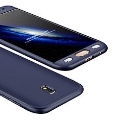 Handyhülle Hülle Kunststoff Schutzhülle Tasche Matt Vorder und Rückseite 360 Grad für Samsung Galaxy J5 (2017) SM-J750F Blau