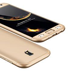 Handyhülle Hülle Kunststoff Schutzhülle Tasche Matt Vorder und Rückseite 360 Grad für Samsung Galaxy J5 (2017) SM-J750F Gold