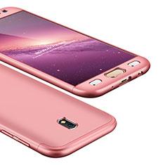 Handyhülle Hülle Kunststoff Schutzhülle Tasche Matt Vorder und Rückseite 360 Grad für Samsung Galaxy J5 (2017) SM-J750F Rosegold