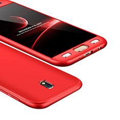Handyhülle Hülle Kunststoff Schutzhülle Tasche Matt Vorder und Rückseite 360 Grad für Samsung Galaxy J5 (2017) SM-J750F Rot