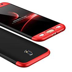 Handyhülle Hülle Kunststoff Schutzhülle Tasche Matt Vorder und Rückseite 360 Grad für Samsung Galaxy J5 (2017) SM-J750F Rot und Schwarz