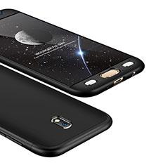Handyhülle Hülle Kunststoff Schutzhülle Tasche Matt Vorder und Rückseite 360 Grad für Samsung Galaxy J5 (2017) SM-J750F Schwarz
