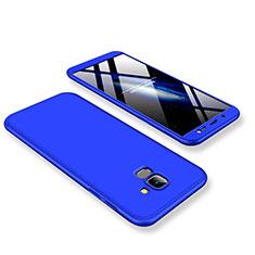 Handyhülle Hülle Kunststoff Schutzhülle Tasche Matt Vorder und Rückseite 360 Grad für Samsung Galaxy J6 (2018) J600F Blau