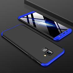 Handyhülle Hülle Kunststoff Schutzhülle Tasche Matt Vorder und Rückseite 360 Grad für Samsung Galaxy J6 (2018) J600F Blau und Schwarz