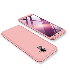 Handyhülle Hülle Kunststoff Schutzhülle Tasche Matt Vorder und Rückseite 360 Grad für Samsung Galaxy J6 (2018) J600F Rosegold