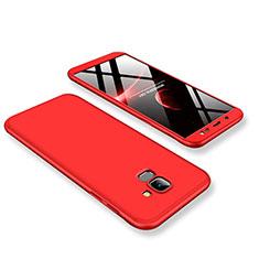 Handyhülle Hülle Kunststoff Schutzhülle Tasche Matt Vorder und Rückseite 360 Grad für Samsung Galaxy J6 (2018) J600F Rot