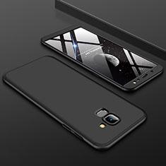Handyhülle Hülle Kunststoff Schutzhülle Tasche Matt Vorder und Rückseite 360 Grad für Samsung Galaxy J6 (2018) J600F Schwarz