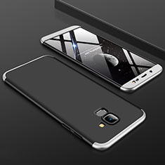 Handyhülle Hülle Kunststoff Schutzhülle Tasche Matt Vorder und Rückseite 360 Grad für Samsung Galaxy J6 (2018) J600F Silber
