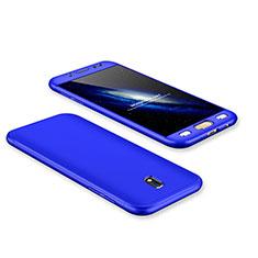 Handyhülle Hülle Kunststoff Schutzhülle Tasche Matt Vorder und Rückseite 360 Grad für Samsung Galaxy J7 Pro Blau