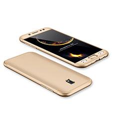 Handyhülle Hülle Kunststoff Schutzhülle Tasche Matt Vorder und Rückseite 360 Grad für Samsung Galaxy J7 Pro Gold
