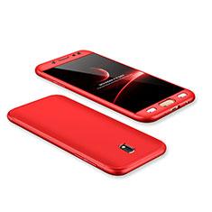 Handyhülle Hülle Kunststoff Schutzhülle Tasche Matt Vorder und Rückseite 360 Grad für Samsung Galaxy J7 Pro Rot