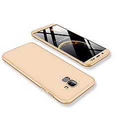 Handyhülle Hülle Kunststoff Schutzhülle Tasche Matt Vorder und Rückseite 360 Grad für Samsung Galaxy On6 (2018) J600F J600G Gold