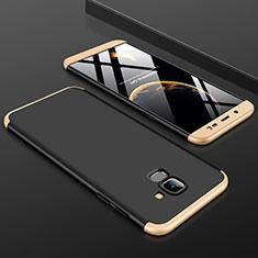 Handyhülle Hülle Kunststoff Schutzhülle Tasche Matt Vorder und Rückseite 360 Grad für Samsung Galaxy On6 (2018) J600F J600G Gold und Schwarz