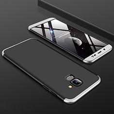 Handyhülle Hülle Kunststoff Schutzhülle Tasche Matt Vorder und Rückseite 360 Grad für Samsung Galaxy On6 (2018) J600F J600G Silber