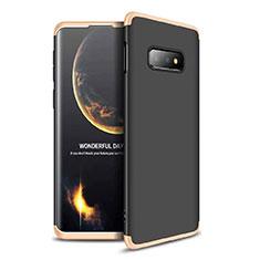 Handyhülle Hülle Kunststoff Schutzhülle Tasche Matt Vorder und Rückseite 360 Grad für Samsung Galaxy S10e Gold und Schwarz
