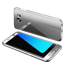 Handyhülle Hülle Kunststoff Schutzhülle Tasche Matt Vorder und Rückseite 360 Grad für Samsung Galaxy S7 Edge G935F Silber