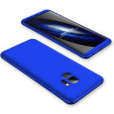 Handyhülle Hülle Kunststoff Schutzhülle Tasche Matt Vorder und Rückseite 360 Grad für Samsung Galaxy S9 Blau