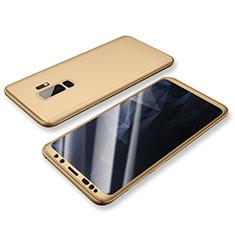 Handyhülle Hülle Kunststoff Schutzhülle Tasche Matt Vorder und Rückseite 360 Grad für Samsung Galaxy S9 Plus Gold