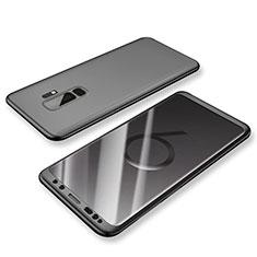 Handyhülle Hülle Kunststoff Schutzhülle Tasche Matt Vorder und Rückseite 360 Grad für Samsung Galaxy S9 Plus Schwarz