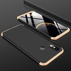 Handyhülle Hülle Kunststoff Schutzhülle Tasche Matt Vorder und Rückseite 360 Grad für Xiaomi Mi 8 Gold und Schwarz