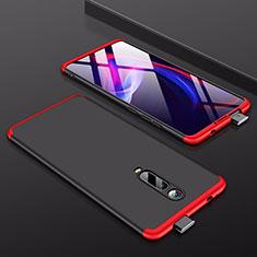 Handyhülle Hülle Kunststoff Schutzhülle Tasche Matt Vorder und Rückseite 360 Grad für Xiaomi Mi 9T Rot und Schwarz