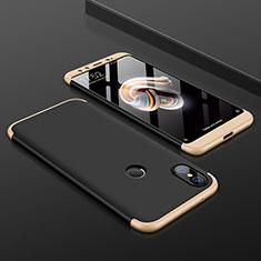 Handyhülle Hülle Kunststoff Schutzhülle Tasche Matt Vorder und Rückseite 360 Grad für Xiaomi Mi A2 Gold und Schwarz