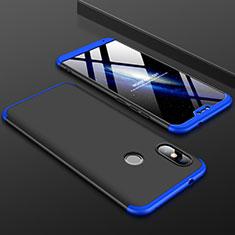 Handyhülle Hülle Kunststoff Schutzhülle Tasche Matt Vorder und Rückseite 360 Grad für Xiaomi Mi A2 Lite Blau und Schwarz