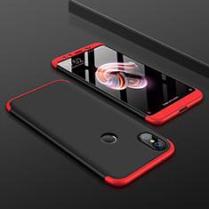 Handyhülle Hülle Kunststoff Schutzhülle Tasche Matt Vorder und Rückseite 360 Grad für Xiaomi Mi A2 Rot und Schwarz