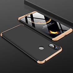 Handyhülle Hülle Kunststoff Schutzhülle Tasche Matt Vorder und Rückseite 360 Grad für Xiaomi Mi Max 3 Gold und Schwarz