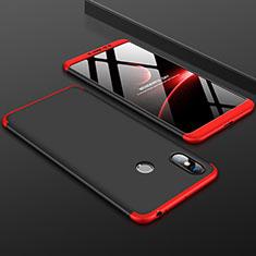 Handyhülle Hülle Kunststoff Schutzhülle Tasche Matt Vorder und Rückseite 360 Grad für Xiaomi Mi Max 3 Rot und Schwarz